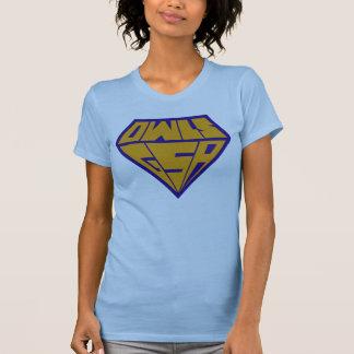 青および黄色フクロウGSAのスーパーヒーローのロゴ Tシャツ