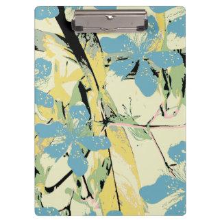 青および黄色レトロの花 クリップボード