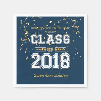 青および黄色2018年の卒業生のパーティーのクラス スタンダードカクテルナプキン