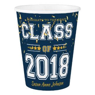 青および黄色2018年の卒業生のパーティーのクラス 紙コップ