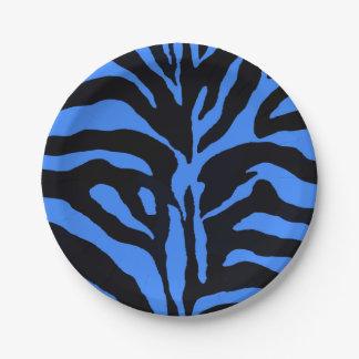 青および黒いシマウマの背景のモダン ペーパープレート