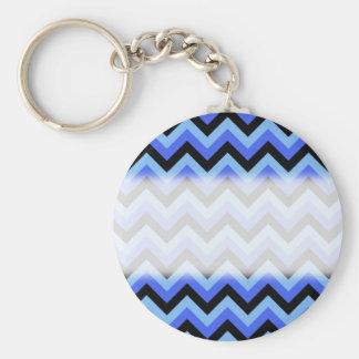 青および黒いジグザグ形の縞 キーホルダー