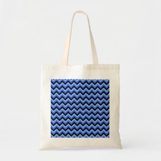 青および黒いジグザグ形の縞 トートバッグ