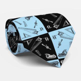 青および黒いタイルの大工仕事用具 オリジナルネクタイ