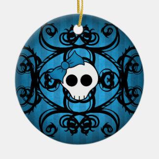 青および黒い倍のかわいいゴシック様式スカルは味方しました セラミックオーナメント