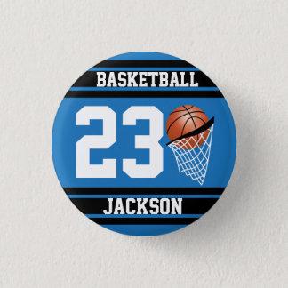 青および黒い名前入りなバスケットボール 缶バッジ