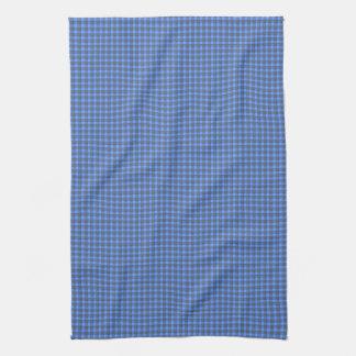 青および黒い小型格子縞の点検タオル キッチンタオル