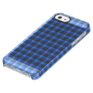 青および黒い格子縞の点検のiphoneの箱 クリア iPhone SE/5/5sケース