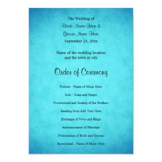 青および黒い結婚式プログラム カード