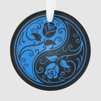 青および黒い陰陽のバラ オーナメント