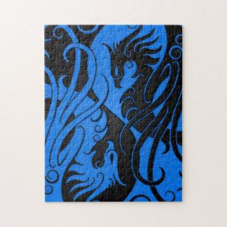 青および黒い陰陽フェニックス ジグソーパズル