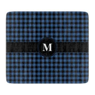 青および黒によって点検されるギンガムのモノグラム カッティングボード