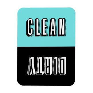 青および黒のブロックのレトロのタイポグラフィの食洗機 マグネット
