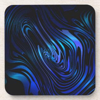 青および黒の抽象芸術の渦巻の芸術 コースター