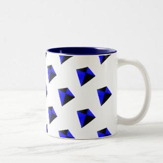 青および黒ダイヤ凧パターン ツートーンマグカップ