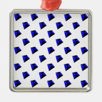 青および黒ダイヤ凧パターン メタルオーナメント