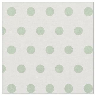 青か緑および白く小さい水玉模様の生地 ファブリック