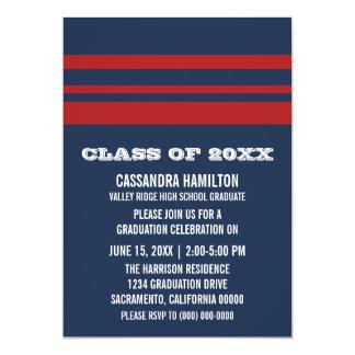 青か赤くはっきりしたでストライプな卒業の招待 カード