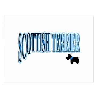 青か黒いスコットランドテリアか白 ポストカード