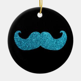 青くきらきら光るな髭(模造のなグリッターのグラフィック) セラミックオーナメント
