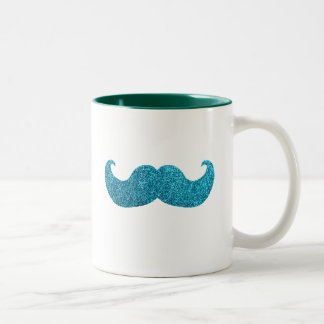 青くきらきら光るな髭(模造のなグリッターのグラフィック) ツートーンマグカップ