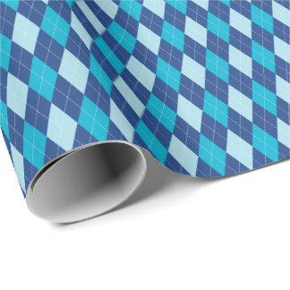 青くアーガイル柄のな包装紙 ラッピングペーパー