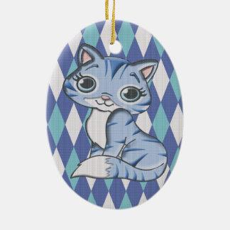 青くアーガイル柄のな子猫猫 セラミックオーナメント