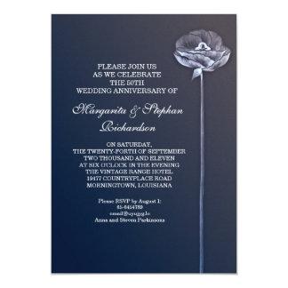 青くエレガントな結婚記念日の招待状 12.7 X 17.8 インビテーションカード