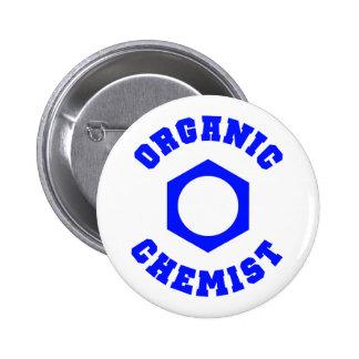 青くオーガニックな化学者ボタン 5.7CM 丸型バッジ
