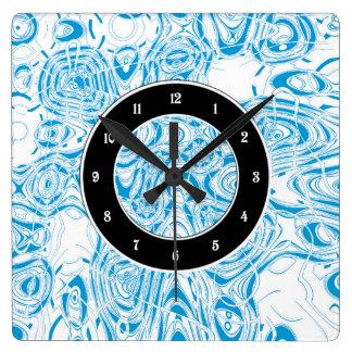 青くオーガニックな抽象芸術 スクエア壁時計