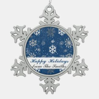 青くカスタムな色の背景の雪の薄片 スノーフレークピューターオーナメント