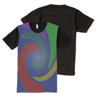 青くカラフルなデザイン オールオーバープリントT シャツ