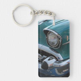 青くクラシックな車 キーホルダー