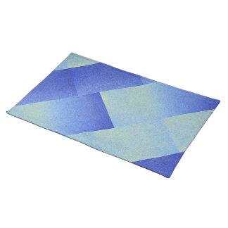 青くグラデーションなグリッターの砂の一見を眩ます氷 ランチョンマット