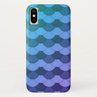 青くグラデーションな人魚のスケール iPhone X ケース