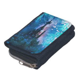 青くグランジなおとぎ話のファンタジーの城の財布 ウォレット