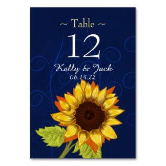 青くスタイリッシュなヒマワリのテーブルカード カード