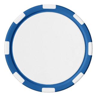 青くストライプのな端が付いているポーカー用のチップ ポーカーチップ