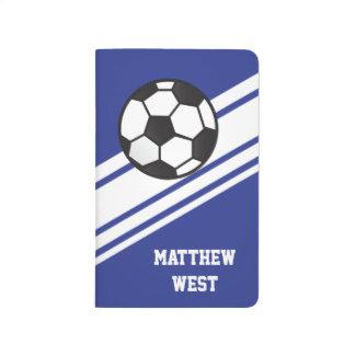 青くスポーティなストライプの名前入りなサッカージャーナル ポケットジャーナル