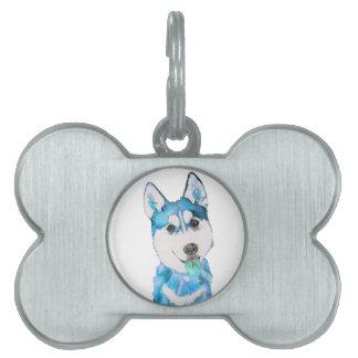 青くハスキーな子犬の水彩画 ペットネームタグ