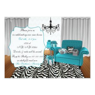 青くモダンなソファーの引っ越し祝いパーティーのパーティの招待状 カード