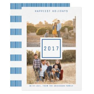 青くモダンな二重写真の休日の平らなカード 12.7 X 17.8 インビテーションカード