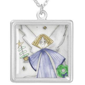 青くモダンな天使 シルバープレートネックレス