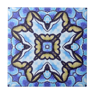 青くロマンチックなモトッコ人の抽象芸術の花柄パターン タイル