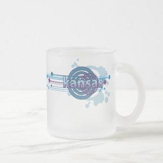 青く写実的な円のカンザスのマグガラス フロストグラスマグカップ