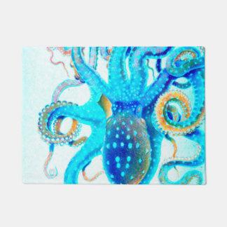 青く多彩なタコ ドアマット