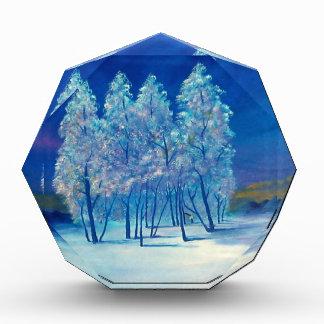 青く小ぎれいな木のクリスマスの机の文鎮 表彰盾
