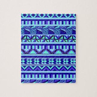 青く幾何学的で抽象的でアステカな種族のプリントパターン ジグソーパズル
