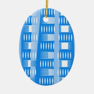 青く幾何学的な型枠 セラミックオーナメント