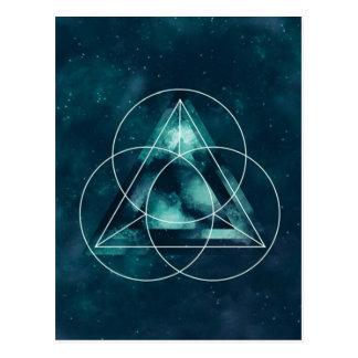 青く幾何学的な天文三角形および円 ポストカード
